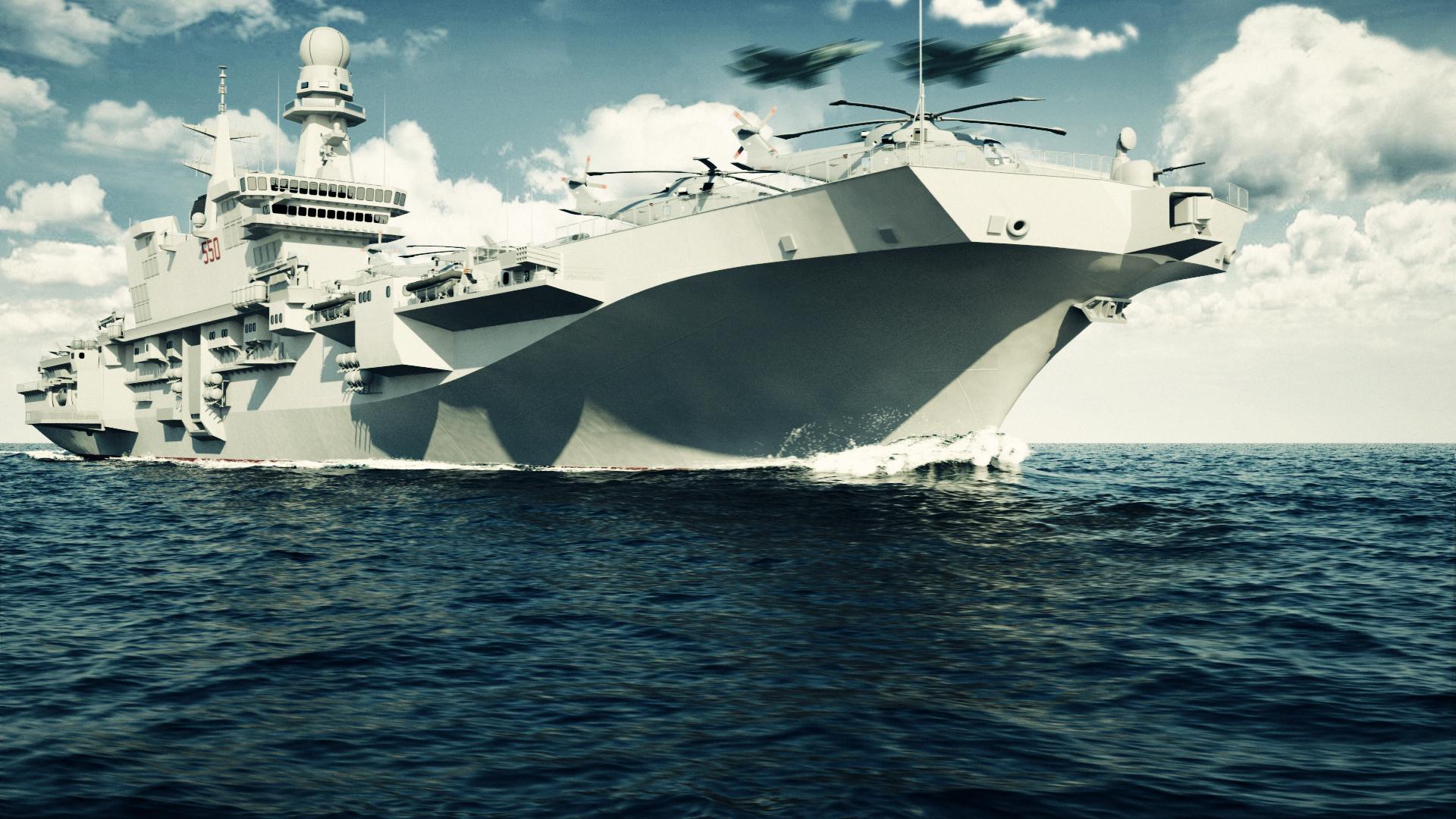 Nave cavour produzione video rendering interni - Cavour portaerei ...